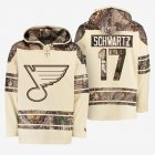 Cheap Blues #17 Jaden Schwartz Cream Camo NHL Hoodie