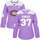 Cheap Adidas Canadiens #37 Keith Kinkaid Purple Authentic Fights Cancer Women's Stitched NHL Jersey