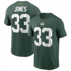 Cheap Green Bay Packers #33 Aaron Jones Nike Team Player Name & Number T-Shirt Green