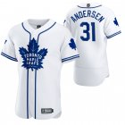 Cheap Toronto Maple Leafs #31 Frederik Andersen Men's 2020 NHL x MLB Crossover Edition Baseball Jersey White