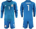Cheap Mexico #1 Corona Blue Long Sleeves Goalkeeper Soccer Country Jersey