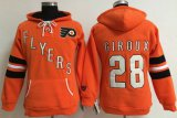 Cheap Philadelphia Flyers #28 Claude Giroux Orange Women's Old Time Heidi NHL Hoodie