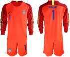 Cheap USA #1 Howard Red Goalkeeper Long Sleeves Soccer Country Jersey