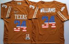 Cheap Men's Texas Longhorns 34 Ricky Williams Orange USA Flag College Jersey