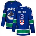 Cheap Adidas Canucks #6 Brock Boeser Blue Home Authentic USA Flag Stitched NHL Jersey