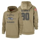 Cheap Seattle Seahawks #90 Jadeveon Clowney Nike Tan 2019 Salute To Service Name & Number Sideline Therma Pullover Hoodie
