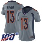 Cheap Nike Broncos #13 KJ Hamler Gray Women's Stitched NFL Limited Inverted Legend 100th Season Jersey