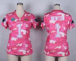 Cheap Nike Panthers #1 Cam Newton Pink Women's Stitched NFL Elite Camo Fashion Jersey