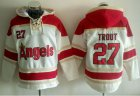 Cheap Angels of Anaheim #27 Mike Trout White Sawyer Hooded Sweatshirt MLB Hoodie