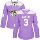 Cheap Adidas Predators #3 Steven Santini Purple Authentic Fights Cancer Women's Stitched NHL Jersey