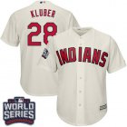 Cheap Indians #28 Corey Kluber Cream Alternate 2016 World Series Bound Stitched Youth MLB Jersey