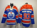 Cheap Oilers #93 Nugent-Hopkins Light Blue Sawyer Hooded Sweatshirt Stitched NHL Jersey
