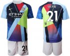 Cheap Manchester City #21 Silva Nike Cooperation 6th Anniversary Celebration Soccer Club Jersey