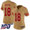 Cheap Nike 49ers #18 Dante Pettis Gold Women's Stitched NFL Limited Inverted Legend 100th Season Jersey