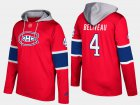 Cheap Canadiens #4 Jean Beliveau Red Name And Number Hoodie