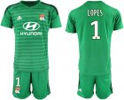Cheap Lyon #1 Lopes Green Goalkeeper Soccer Club Jersey