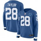 Cheap Nike Colts #28 Jonathan Taylor Royal Blue Team Color Women's Stitched NFL Limited Therma Long Sleeve Jersey
