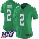 Cheap Nike Eagles #2 Jalen Hurts Green Women's Stitched NFL Limited Rush 100th Season Jersey