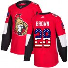 Cheap Adidas Senators #28 Connor Brown Red Home Authentic USA Flag Stitched Youth NHL Jersey