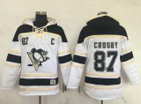 Cheap Penguins #87 Sidney Crosby White Sawyer Hooded Sweatshirt Stitched NHL Jersey