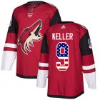 Cheap Adidas Coyotes #9 Clayton Keller Maroon Home Authentic USA Flag Stitched Youth NHL Jersey
