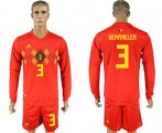 Cheap Belgium #3 Vermaelen Red Home Long Sleeves Soccer Country Jersey