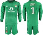 Cheap Lyon #1 Lopes Green Goalkeeper Long Sleeves Soccer Club Jersey