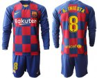 Cheap Barcelona #8 A.Iniesta Home Long Sleeves Soccer Club Jersey