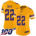Cheap Nike Vikings #22 Harrison Smith Gold Women's Stitched NFL Limited Inverted Legend 100th Season Jersey