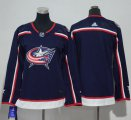 Cheap Adidas Blue Jackets Blank Navy Blue Home Authentic Women's Stitched NHL Jersey