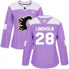 Cheap Adidas Flames #28 Elias Lindholm Purple Authentic Fights Cancer Women's Stitched NHL Jersey