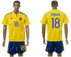 Cheap Ukraine #18 Rybalka Home Soccer Country Jersey