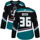 Cheap Adidas Ducks #36 John Gibson Black/Teal Alternate Authentic Women's Stitched NHL Jersey