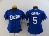 Cheap Women's Los Angeles Dodgers #5 Corey Seager Blue Stitched MLB Cool Base Nike Jersey