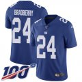 Cheap Nike Giants #24 James Bradberry Royal Blue Team Color Youth Stitched NFL 100th Season Vapor Untouchable Limited Jersey