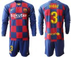 Cheap Barcelona #3 Pique Home Long Sleeves Soccer Club Jersey