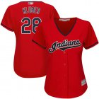 Cheap Indians #28 Corey Kluber Red Women's Stitched MLB Jersey