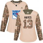 Cheap Adidas Rangers #13 Kevin Hayes Camo Authentic 2017 Veterans Day Women's Stitched NHL Jersey