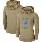 Cheap Women's Detroit Lions Nike Khaki 2019 Salute to Service Therma Pullover Hoodie