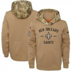 Cheap Youth New Orleans Saints Nike Khaki 2019 Salute to Service Therma Pullover Hoodie