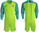 Cheap USA Blank Shiny Green Goalkeeper Long Sleeves Soccer Country Jersey