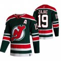 Cheap New Jersey Devils #19 Travis Zajac Green Men's Adidas 2020-21 Reverse Retro Alternate NHL Jersey