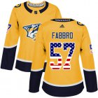 Cheap Adidas Predators #57 Dante Fabbro Yellow Home Authentic USA Flag Women's Stitched NHL Jersey