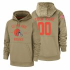 Cheap Cleveland Browns Custom Nike Tan 2019 Salute To Service Name & Number Sideline Therma Pullover Hoodie