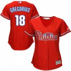 Cheap Phillies #18 Didi Gregorius Red Alternate Women's Stitched MLB Jersey