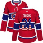 Cheap Adidas Canadiens #21 Nick Cousins Red Home Authentic USA Flag Women's Stitched NHL Jersey