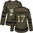 Cheap Adidas Blues #17 Jaden Schwartz Green Salute to Service Stanley Cup Champions Women's Stitched NHL Jersey