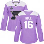 Cheap Adidas Blues #16 Brett Hull Purple Authentic Fights Cancer Stanley Cup Champions Women's Stitched NHL Jersey