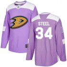 Cheap Adidas Ducks #34 Sam Steel Purple Authentic Fights Cancer Youth Stitched NHL Jersey