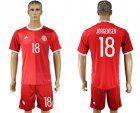 Cheap Danmark #18 Jorgensen Red Home Soccer Country Jersey